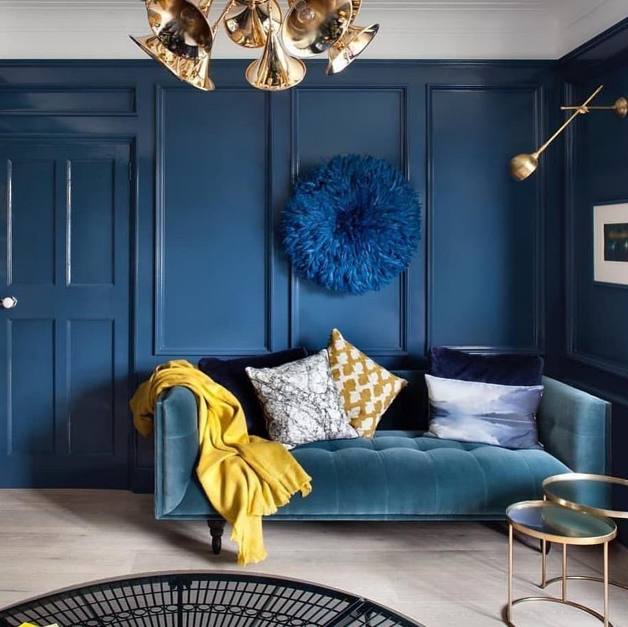 Синий цвет в интерьере, фото в интерьере, особенности, как сочетать