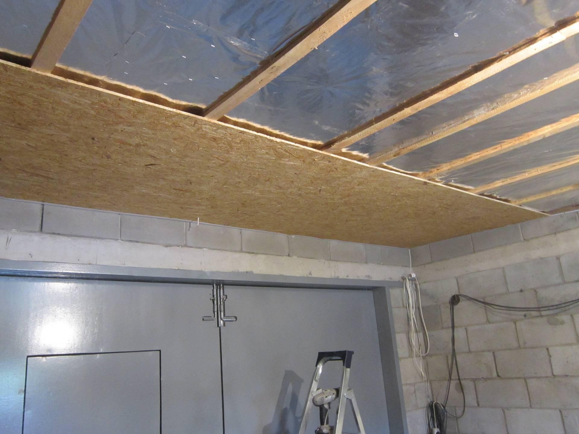 Утепление потолка в гараже своими руками: как сделать теплоизоляцию изнутри