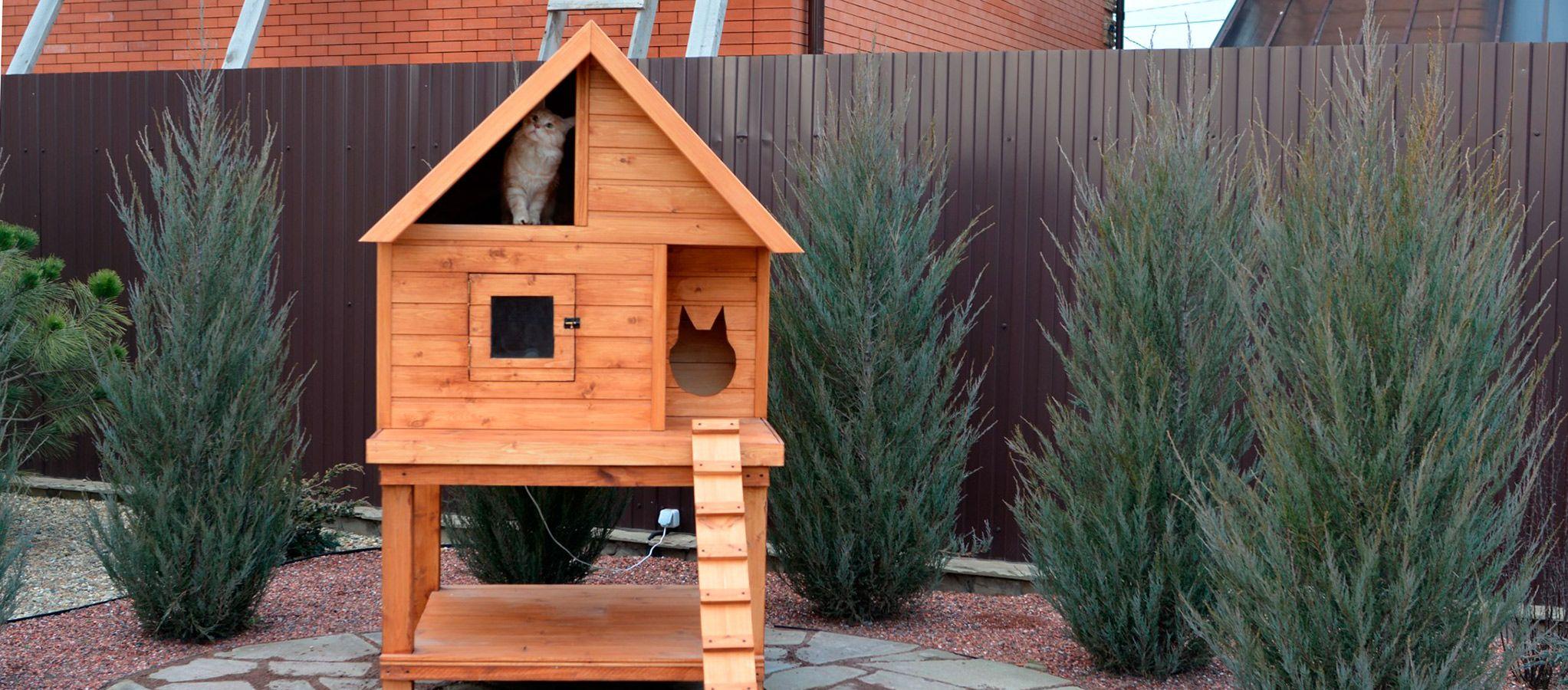 Зимний домик для кошки на улице - все про стройку