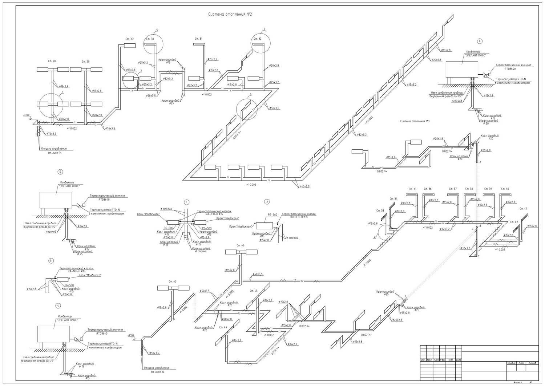 Системы отопления: схемы и чертежи - аксонометрическая, принципиальная
