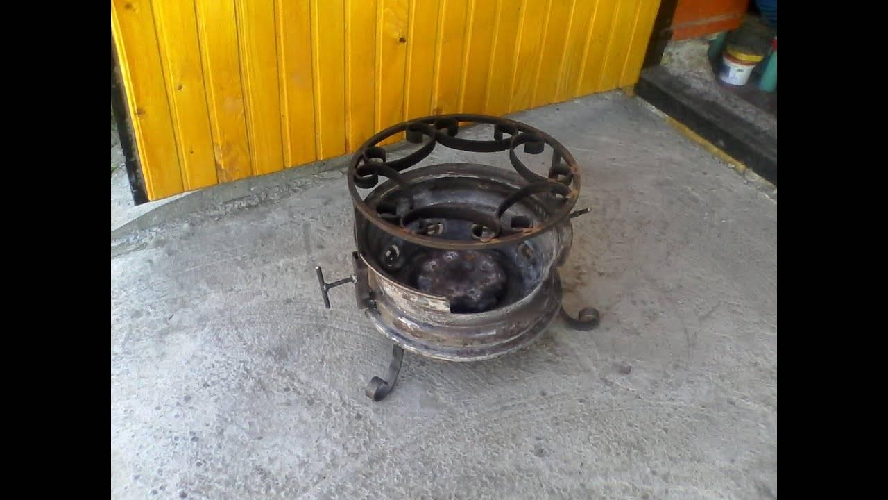 Печка из колесных дисков своими руками для бани и шашлыка