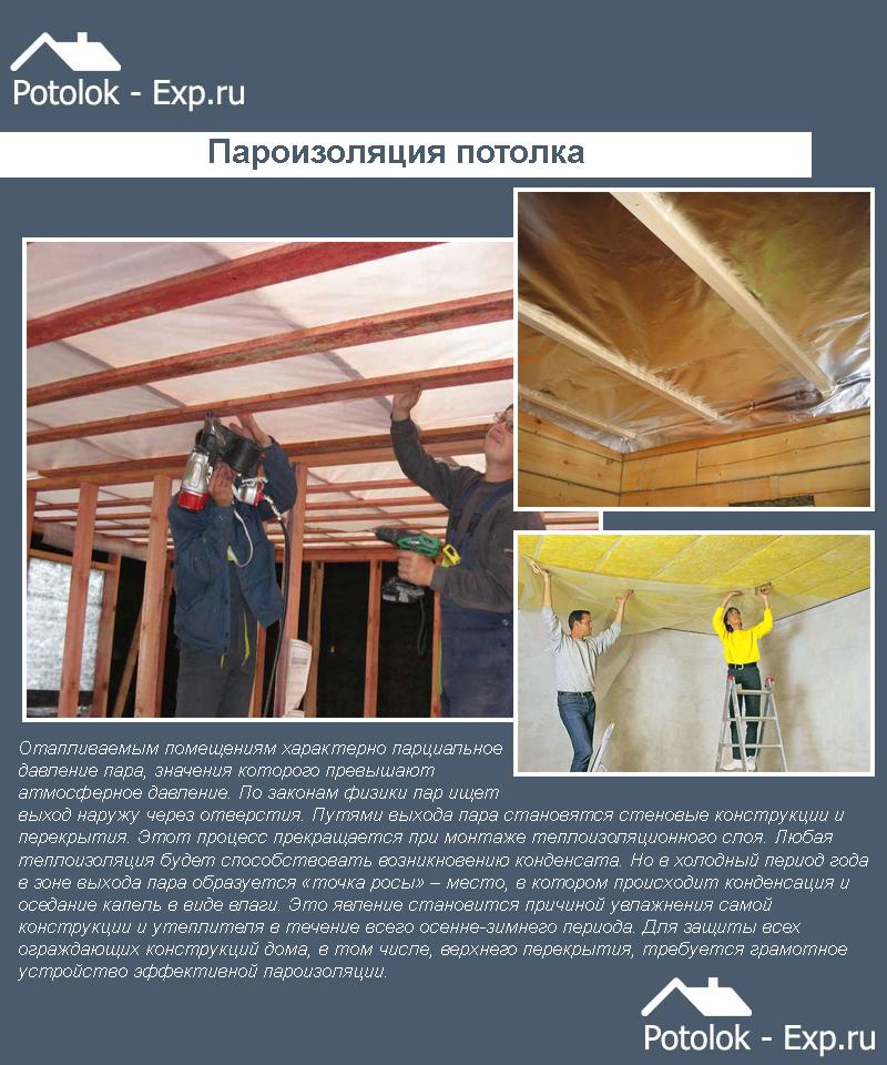 Пароизоляция для потолка в деревянном перекрытии: материалы и особенности монтажа - 49 фото и 1 видео