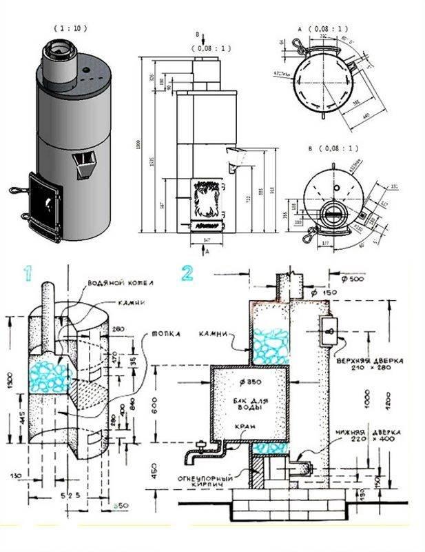 Как составить чертёж банной печи: устройство печи из металла согласно чертежу и полезные советы