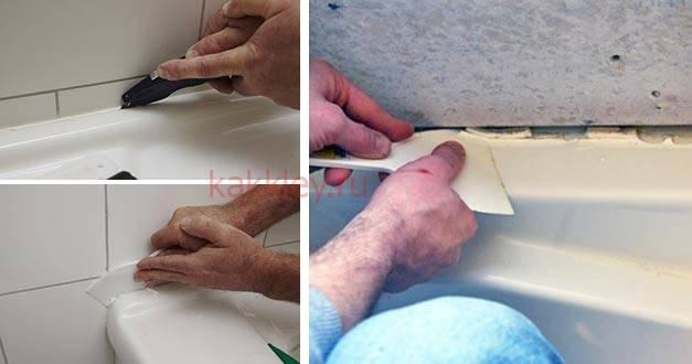 Чем оттереть санитарный герметик с поверхности ванны и кафеля