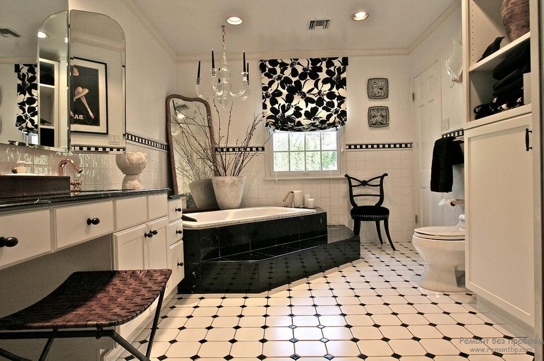 Черно-белая плитка в ванной: 80 фото дизайна с черно-белым кафелем в декоре для большой и маленькой площади