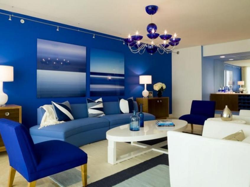 Сочетание синего цвета с другими цветами в интерьере — 125 фото