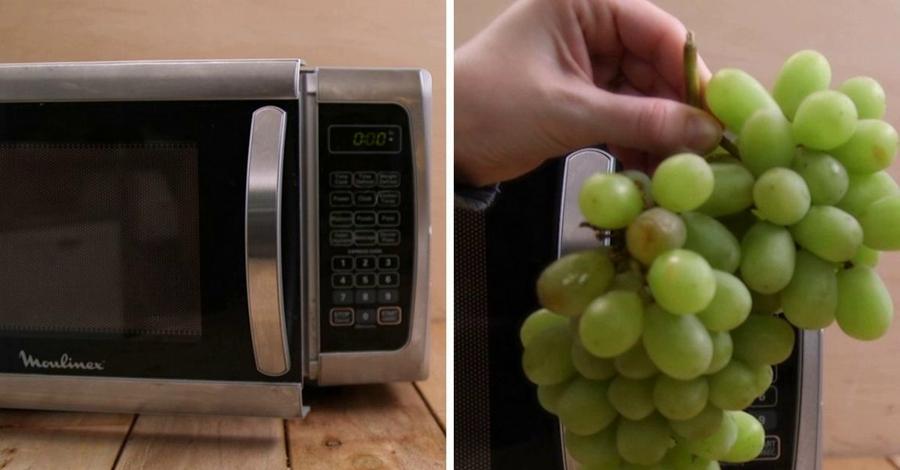 Эксперимент с виноградом в микроволновке