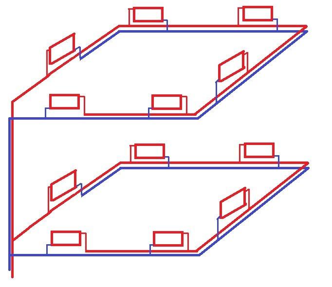 Попутная двухтрубная схема отопления тихельмана.