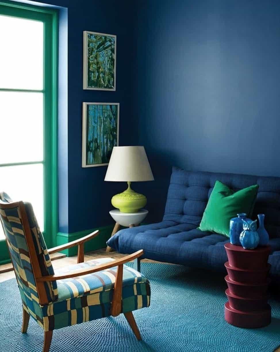 Синий цвет в интерьере: сочетание, выбор стиля, отделки, мебели, штор и декора