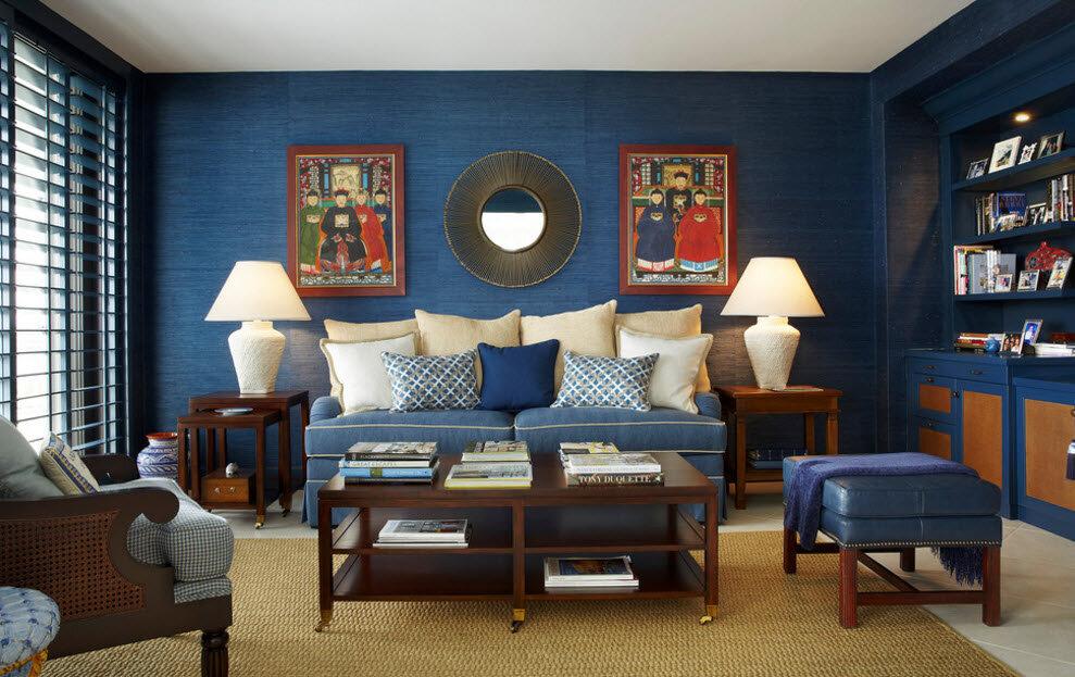 Синие стены: влияние цвета на психологическое состояние, сочетание синего цвета обоев с другими оттенками. 80 фото эксклюзивного дизайна со стенами синего цвета