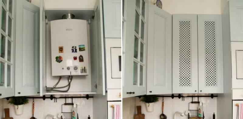 Советы дизайнеров: как спрятать газовую колонку и практично оформить интерьер маленькой кухни