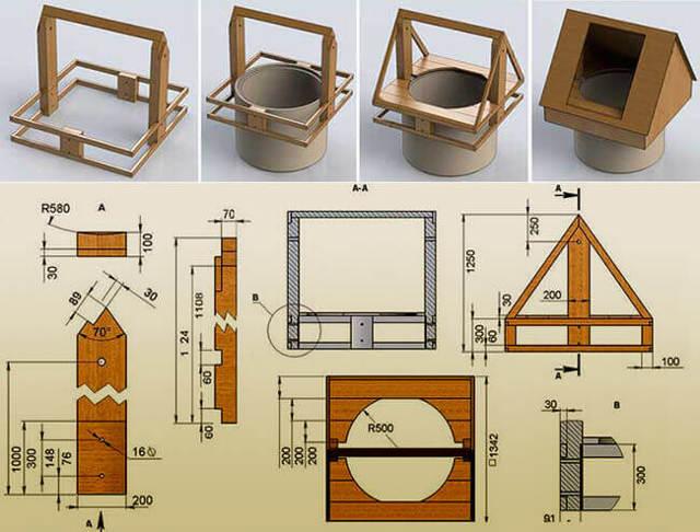 Домик для колодца своими руками: 100 фото вариантов оформления