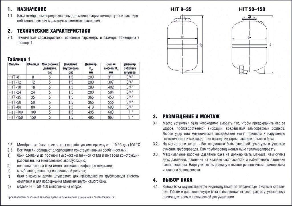 Расчет для расширительного бака для отопления, объем, давление для закрытой системы