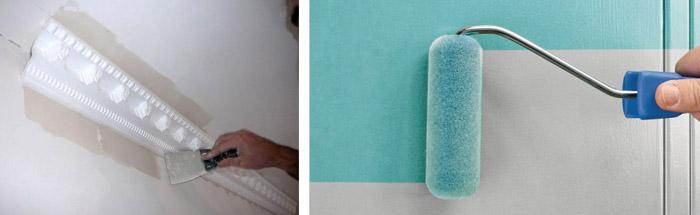 Чем покрасить потолочный плинтус из пенопласта