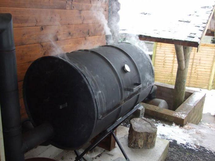 Самодельная коптильня из бочки 200 литров для горячего копчения за час   stroimass.com