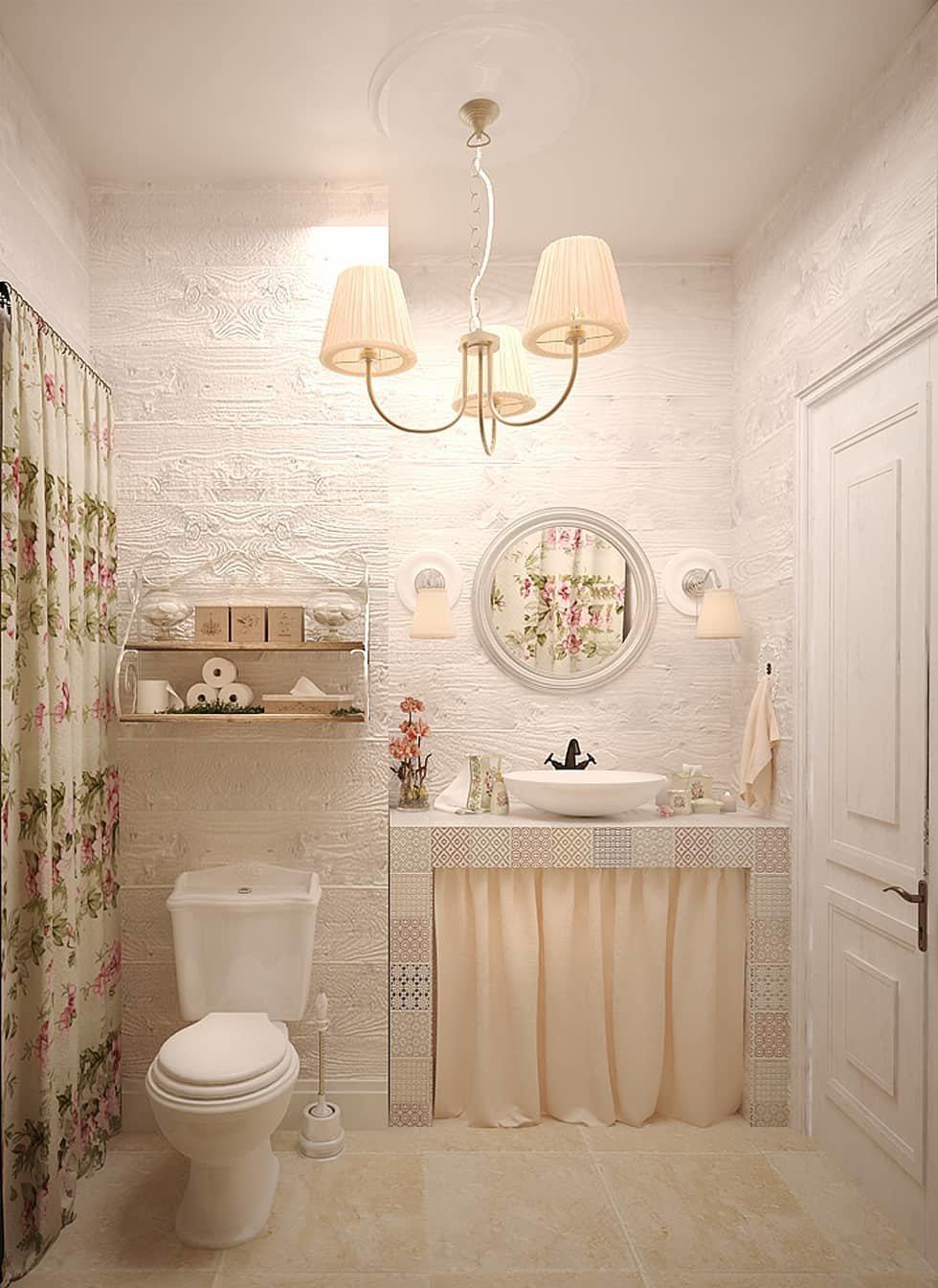 Романтичный стиль прованс в интерьере ванной комнаты